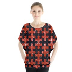 Puzzle1 Black Marble & Red Marble Batwing Chiffon Blouse