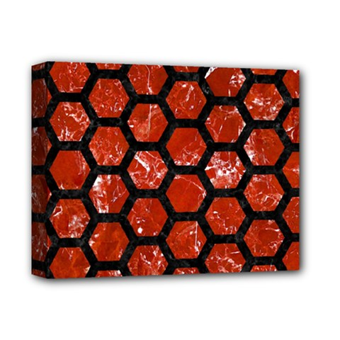 Hexagon2 Black Marble & Red Marble (r) Deluxe Canvas 14  X 11  (stretched)
