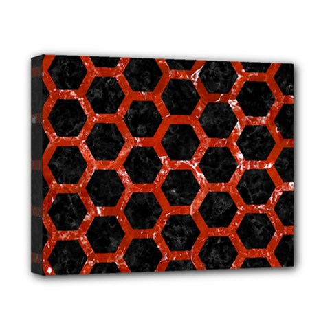 Hexagon2 Black Marble & Red Marble Canvas 10  X 8  (stretched)
