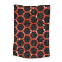 Hexagon2 Black Marble & Red Marble Small Tapestry