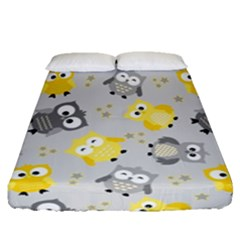 Owl Bird Yellow Animals Fitted Sheet (queen Size)
