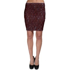 Hexagon1 Black Marble & Red Marble Bodycon Skirt
