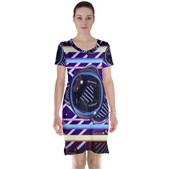 Abstract Sphere Room 3d Design Short Sleeve Nightdress