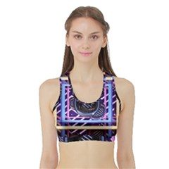 Abstract Sphere Room 3d Design Sports Bra With Border