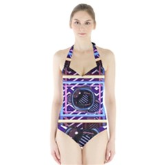 Abstract Sphere Room 3d Design Halter Swimsuit