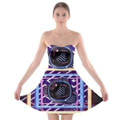 Abstract Sphere Room 3d Design Strapless Bra Top Dress