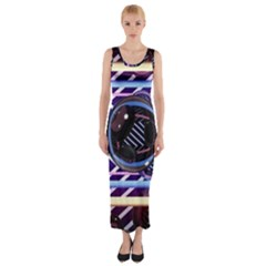 Abstract Sphere Room 3d Design Fitted Maxi Dress