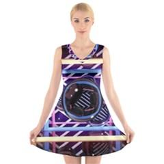 Abstract Sphere Room 3d Design V Neck Sleeveless Skater Dress