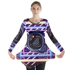 Abstract Sphere Room 3d Design Long Sleeve Tunic