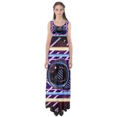 Abstract Sphere Room 3d Design Empire Waist Maxi Dress
