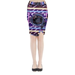 Abstract Sphere Room 3d Design Midi Wrap Pencil Skirt