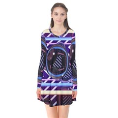 Abstract Sphere Room 3d Design Flare Dress