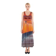 Architecture Art Bright Color Sleeveless Maxi Dress