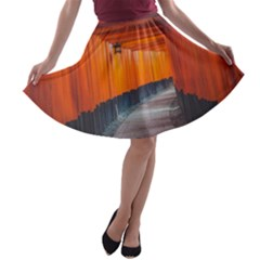 Architecture Art Bright Color A Line Skater Skirt