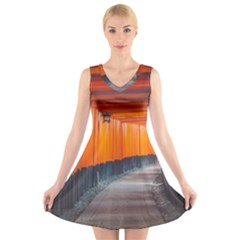 Architecture Art Bright Color V-Neck Sleeveless Skater Dress