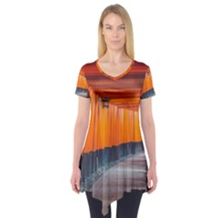 Architecture Art Bright Color Short Sleeve Tunic