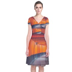 Architecture Art Bright Color Short Sleeve Front Wrap Dress