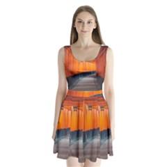 Architecture Art Bright Color Split Back Mini Dress