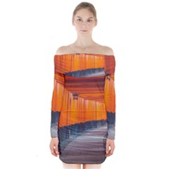 Architecture Art Bright Color Long Sleeve Off Shoulder Dress