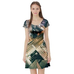 Architecture Buildings City Short Sleeve Skater Dress