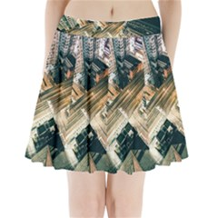 Architecture Buildings City Pleated Mini Skirt