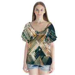 Architecture Buildings City Flutter Sleeve Top