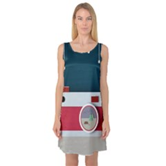 Camera Vector Illustration Sleeveless Satin Nightdress