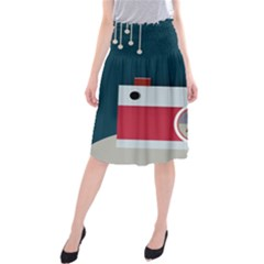 Camera Vector Illustration Midi Beach Skirt
