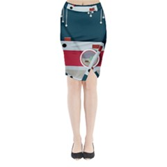 Camera Vector Illustration Midi Wrap Pencil Skirt