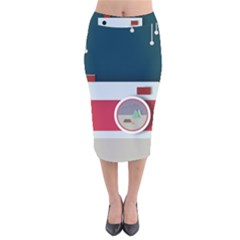 Camera Vector Illustration Velvet Midi Pencil Skirt