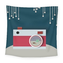 Camera Vector Illustration Square Tapestry (large)