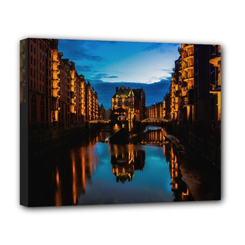 Hamburg City Blue Hour Night Deluxe Canvas 20  X 16