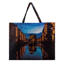 Hamburg City Blue Hour Night Zipper Large Tote Bag