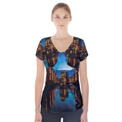 Hamburg City Blue Hour Night Short Sleeve Front Detail Top