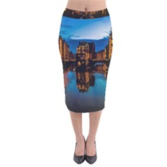 Hamburg City Blue Hour Night Velvet Midi Pencil Skirt