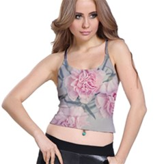 Cloves Flowers Pink Carnation Pink Spaghetti Strap Bra Top