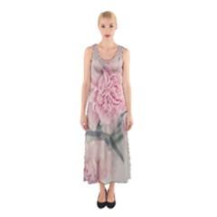 Cloves Flowers Pink Carnation Pink Sleeveless Maxi Dress
