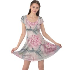 Cloves Flowers Pink Carnation Pink Cap Sleeve Dresses