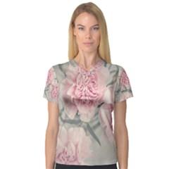 Cloves Flowers Pink Carnation Pink Women s V Neck Sport Mesh Tee
