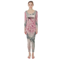 Cloves Flowers Pink Carnation Pink Long Sleeve Catsuit