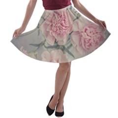 Cloves Flowers Pink Carnation Pink A Line Skater Skirt