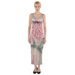 Cloves Flowers Pink Carnation Pink Fitted Maxi Dress