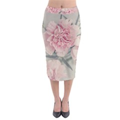 Cloves Flowers Pink Carnation Pink Midi Pencil Skirt