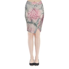 Cloves Flowers Pink Carnation Pink Midi Wrap Pencil Skirt