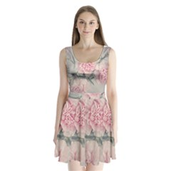 Cloves Flowers Pink Carnation Pink Split Back Mini Dress