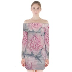 Cloves Flowers Pink Carnation Pink Long Sleeve Off Shoulder Dress