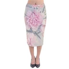 Cloves Flowers Pink Carnation Pink Velvet Midi Pencil Skirt