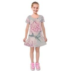 Cloves Flowers Pink Carnation Pink Kids  Short Sleeve Velvet Dress