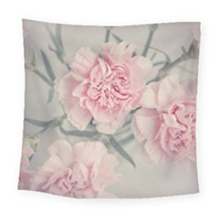Cloves Flowers Pink Carnation Pink Square Tapestry (large)