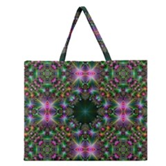 Digital Kaleidoscope Zipper Large Tote Bag
